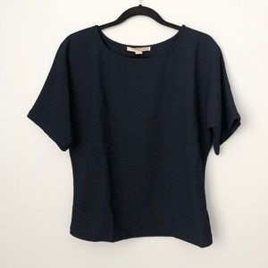 Navy Crepe top with wrap button detail